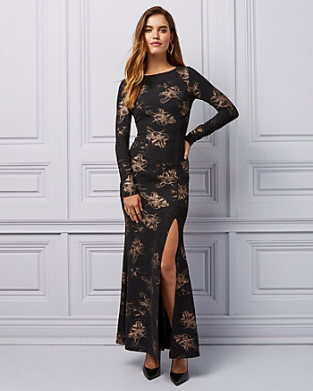 Floral Print Metallic Knit V-Back Gown