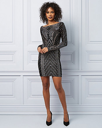 Sparkle Print Open Back Knit Cocktail Dress