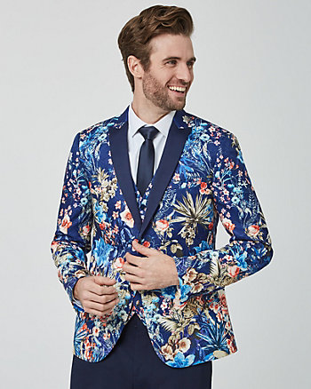 Floral Print Satin Slim Fit Blazer