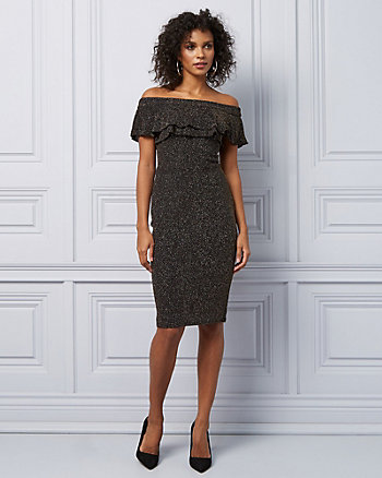Knit Off-The-Shoulder Ruffle Cocktail Dress