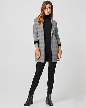Check Print Double Knit Blazer