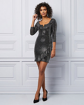 Sparkle Knit V-Notch Wrap Dress