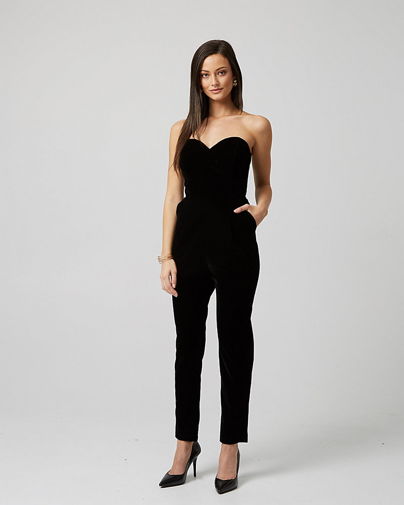 1890e783d7be Velvet Strapless Sweetheart Jumpsuit