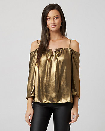 Foil Metallic Cold Shoulder Blouse