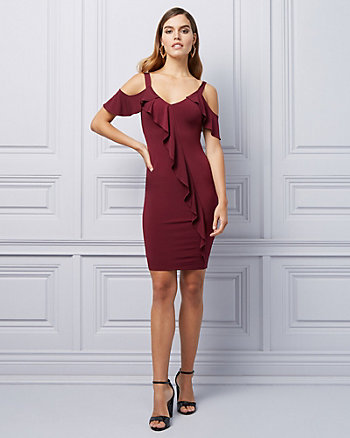 Cold Shoulder Ruffle Cocktail Dress