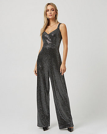 Metallic Knit Wide Leg Jumpsuit