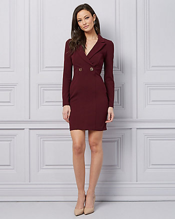 Knit Crêpe Wrap-Like Blazer Dress