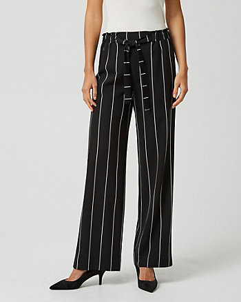 Stripe Print Viscose Blend Wide Leg Pant