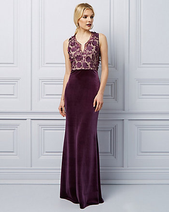 3D Floral Embroidery Velvet Gown