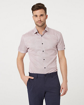 Geo Print Cotton Sateen Tailored Shirt