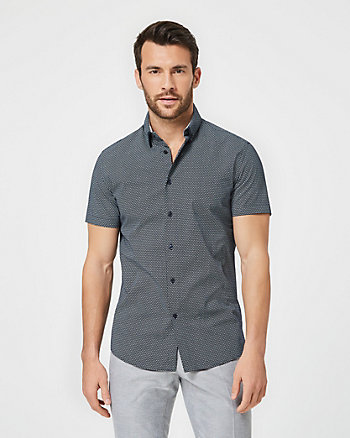 Geo Print Cotton Slim Fit Short Sleeve Shirt