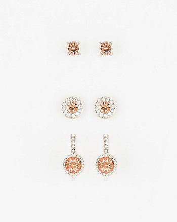 Set of Three Gem Earrings