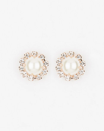 Gem & Pearl-Like Stud Earrings