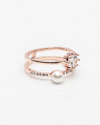 Gem & Pearl-Like Ring