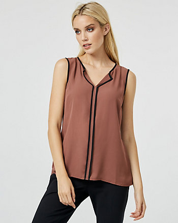 Crêpe de Chine Slit Neck Blouse