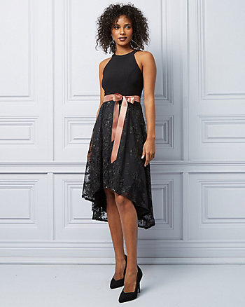 Knit & Lace High-Low Cocktail Dress