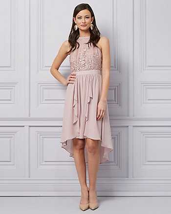 Lace & Chiffon High-Low Halter Dress