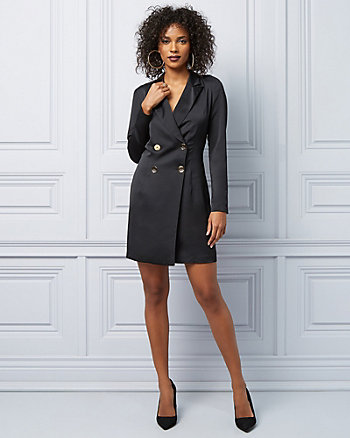 Crêpe Double Breasted Blazer Dress