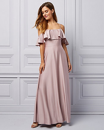 Satin & Crêpe Cold Shoulder Ruffle Gown