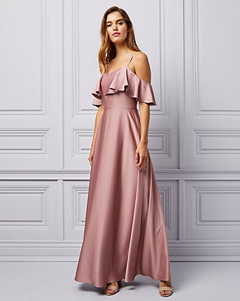 Crêpe Satin Cold Shoulder Ruffle Gown