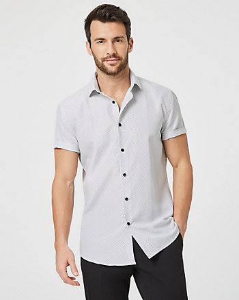 Dot Print Tailored Fit Short Sleeve Shirt