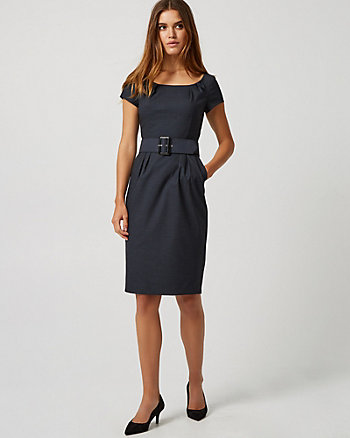 Viscose Blend Boat Neck Sheath Dress