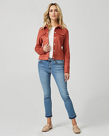 Suede-Like Button Front Jacket