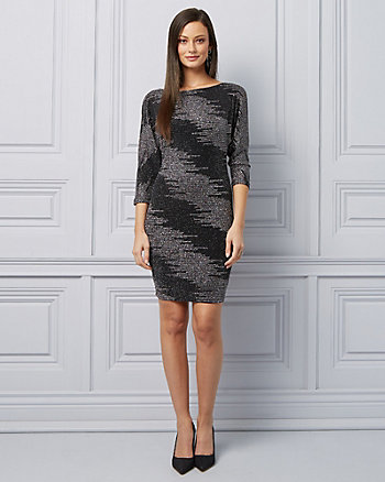 Sparkle Knit V-Back Cocktail Dress