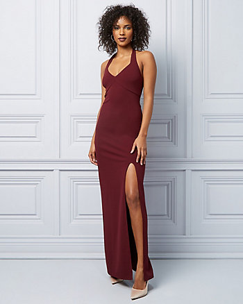 Knit Crêpe Halter V-Neck Gown