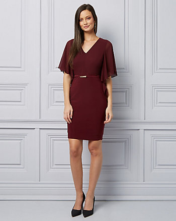Flutter Sleeve V-Neck Cocktail Dress