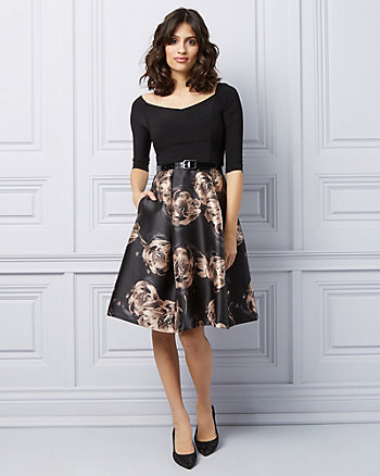Floral Off-The-Shoulder Fit & Flare Cocktail Dress