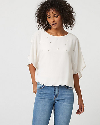 Pearl Embellished Chiffon Poncho Top