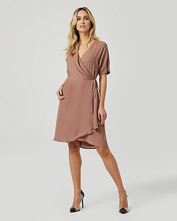 Crêpe de Chine Flutter Sleeve Wrap Dress