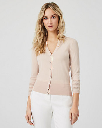 Viscose Blend Button Front Cardigan