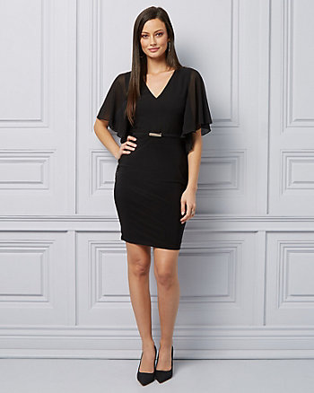 Embellished Knit V-Neck Cocktail Dress