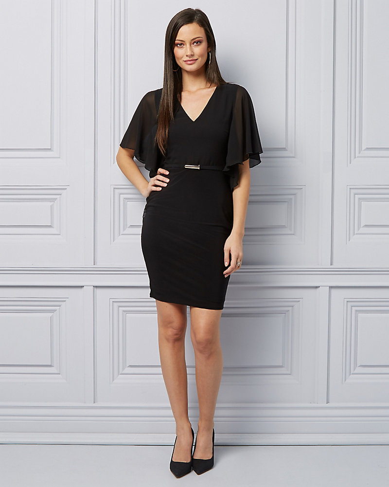 b853fa832f Embellished Knit V-Neck Cocktail Dress | LE CHÂTEAU