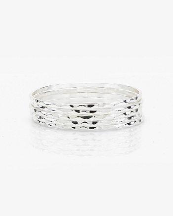 Set of Five Zigzag Etched Bangle Bracelets