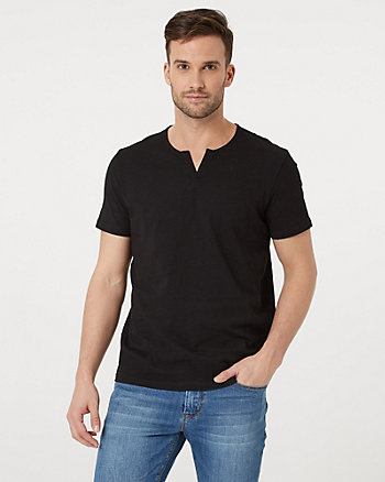Cotton Split V-Neck T-Shirts