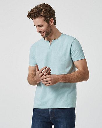 T-shirt à encolure fendue en coton