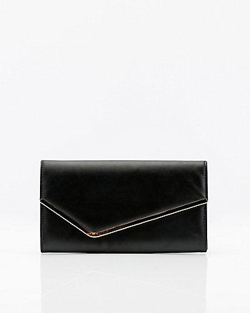Leather-Like Asymmetrical Flapover Clutch
