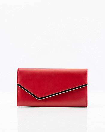Leather-Like Asymmetrical Flapover Clutch