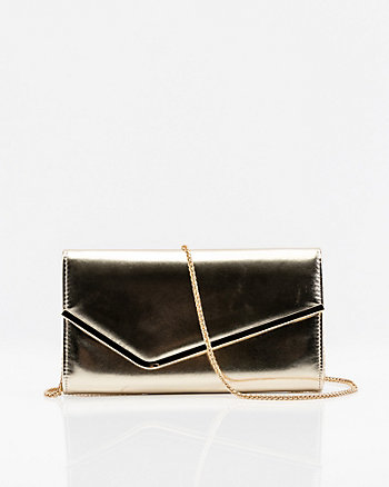 Metallic Asymmetrical Flapover Clutch