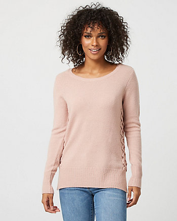 Knit Crew Neck Lace-Up Detail Sweater