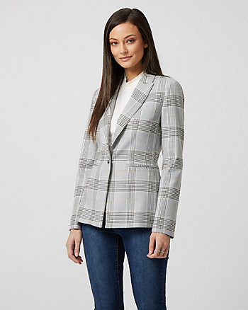 Check Print Viscose Blend Fitted Blazer