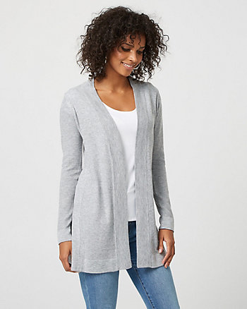 Knit Open-Front Slit Cardigan