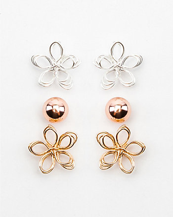 Set of Three Flower & Stud Earrings