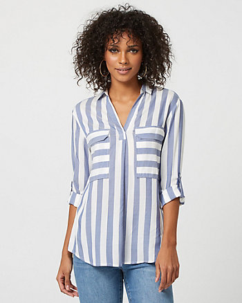 Stripe Viscose Split Neck Blouse