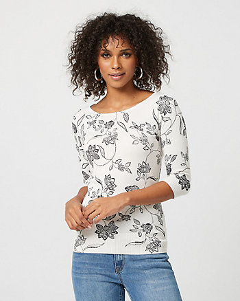 Floral Viscose Blend Boat Neck Sweater