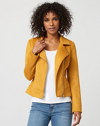 Faux Suede Asymmetrical Aviator Jacket