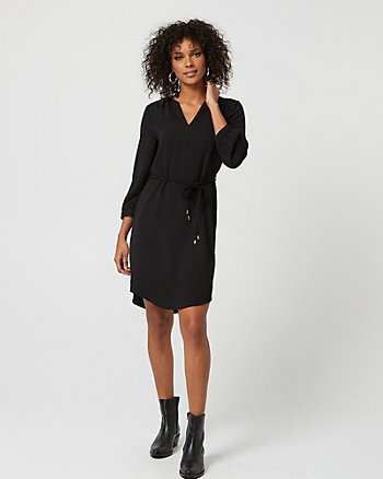V-Notch Long Sleeve Tunic Dress